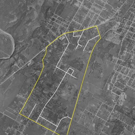 SLNA - 1954 aerial - boundary - roads
