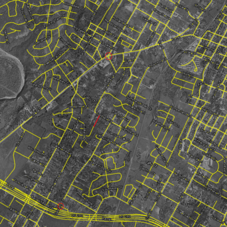 1954 with roads -- annotated